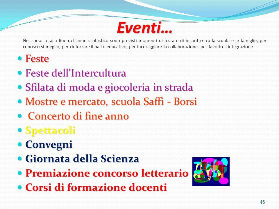 Eventi… Eventi… Nel corso e alla fine dellanno scolastico sono previsti momenti di festa e di incontro tra la scuola e le famiglie, per conoscersi meg