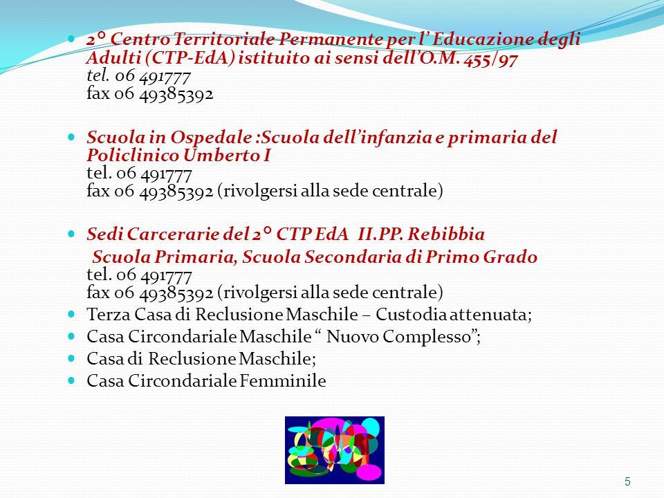 2° Centro Territoriale Permanente per l Educazione degli Adulti (CTP-EdA) istituito ai sensi dellO.M. 455/97 tel. 06 491777 fax 06 49385392 Scuola in
