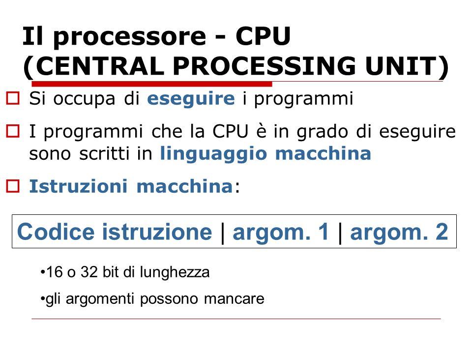 Il processore - CPU (CENTRAL PROCESSING UNIT) Si occupa di eseguire i programmi I programmi che la CPU è in grado di eseguire sono scritti in linguagg