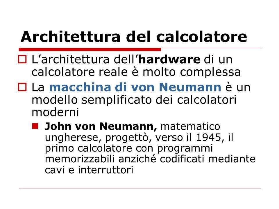 Architettura del calcolatore Larchitettura dellhardware di un calcolatore reale è molto complessa La macchina di von Neumann è un modello semplificato