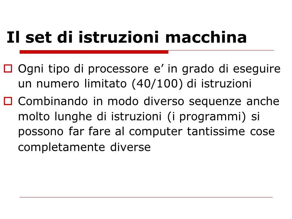 Il set di istruzioni macchina Ogni tipo di processore e in grado di eseguire un numero limitato (40/100) di istruzioni Combinando in modo diverso sequ
