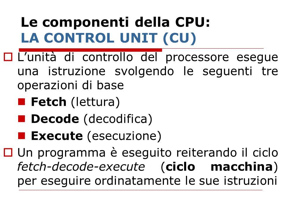 Le componenti della CPU: LA CONTROL UNIT (CU) Lunità di controllo del processore esegue una istruzione svolgendo le seguenti tre operazioni di base Fe