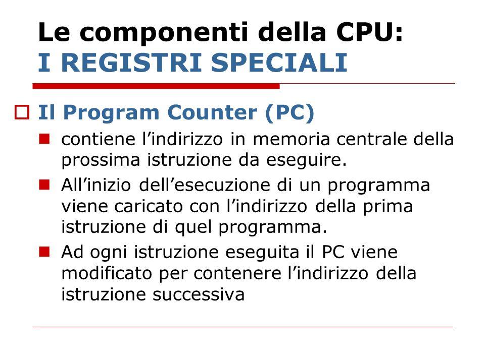 Le componenti della CPU: I REGISTRI SPECIALI Il Program Counter (PC) contiene lindirizzo in memoria centrale della prossima istruzione da eseguire. Al