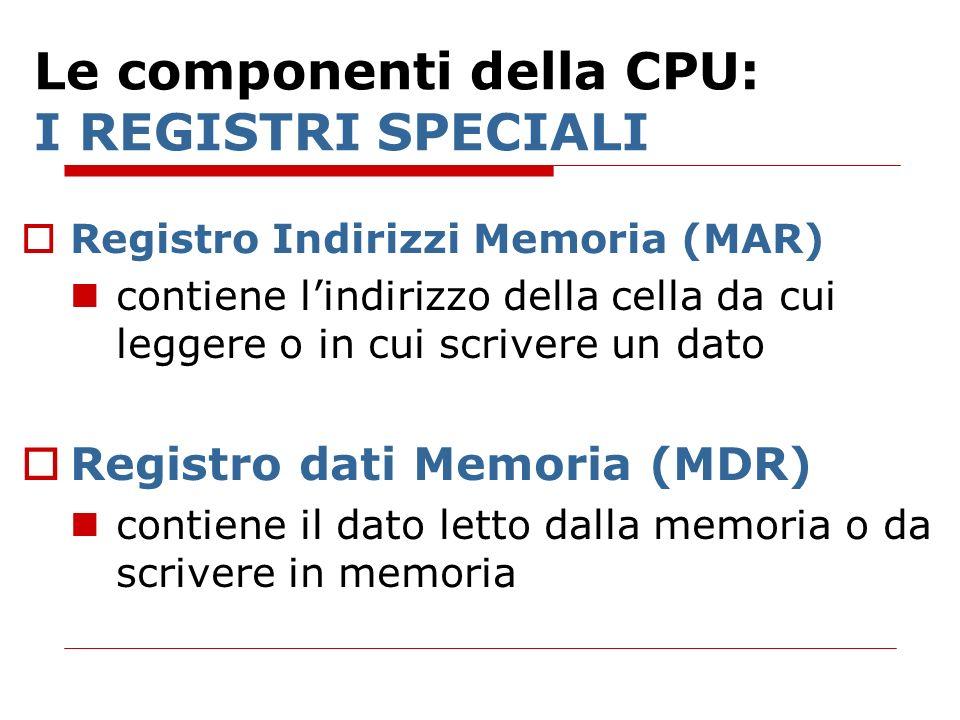Le componenti della CPU: I REGISTRI SPECIALI Registro Indirizzi Memoria (MAR) contiene lindirizzo della cella da cui leggere o in cui scrivere un dato