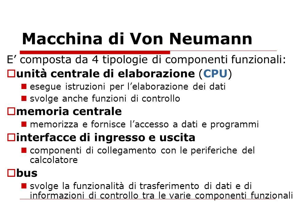 Macchina di Von Neumann E composta da 4 tipologie di componenti funzionali: unità centrale di elaborazione (CPU) esegue istruzioni per lelaborazione d
