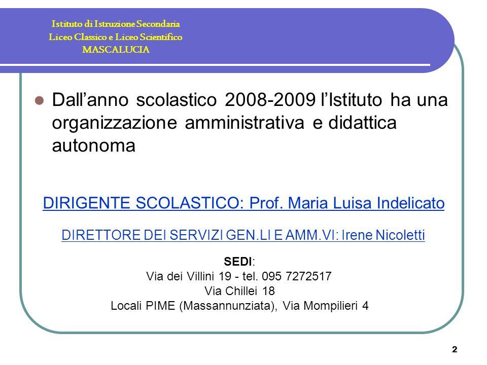 2 Istituto di Istruzione Secondaria Liceo Classico e Liceo Scientifico MASCALUCIA Dallanno scolastico 2008-2009 lIstituto ha una organizzazione amministrativa e didattica autonoma SEDI: Via dei Villini 19 - tel.