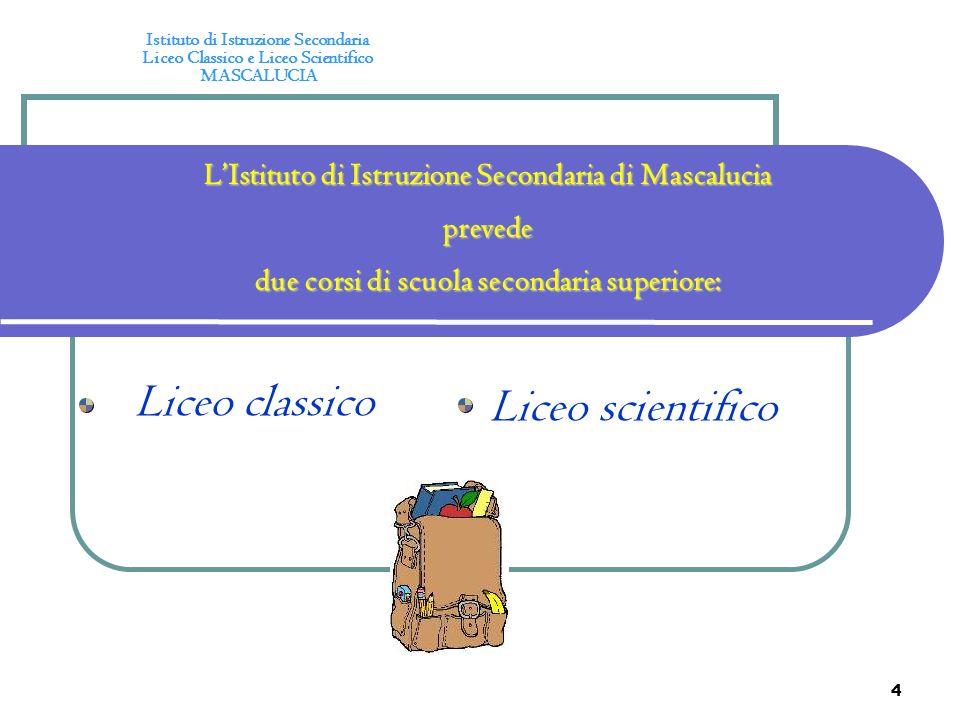 4 LIstituto di Istruzione Secondaria di Mascalucia prevede due corsi di scuola secondaria superiore: Liceo classico Liceo scientifico