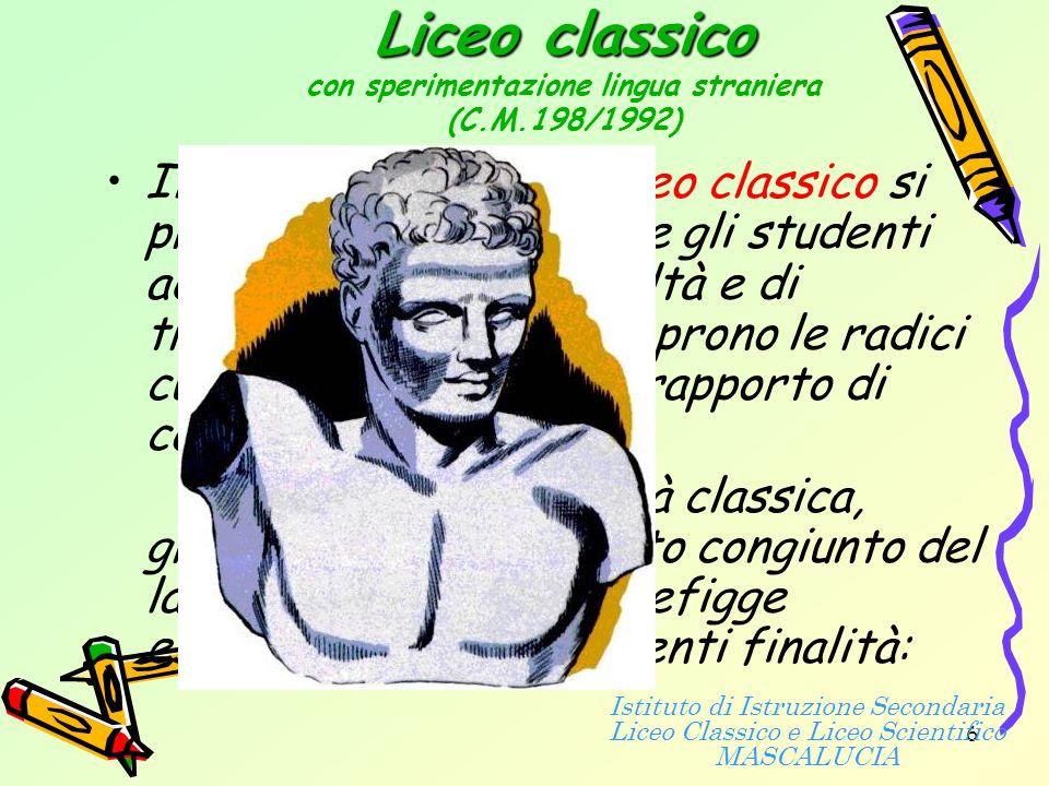 16 Istituto di Istruzione Secondaria Liceo Classico e Liceo Scientifico MASCALUCIA Via dei Villini 19 - tel.
