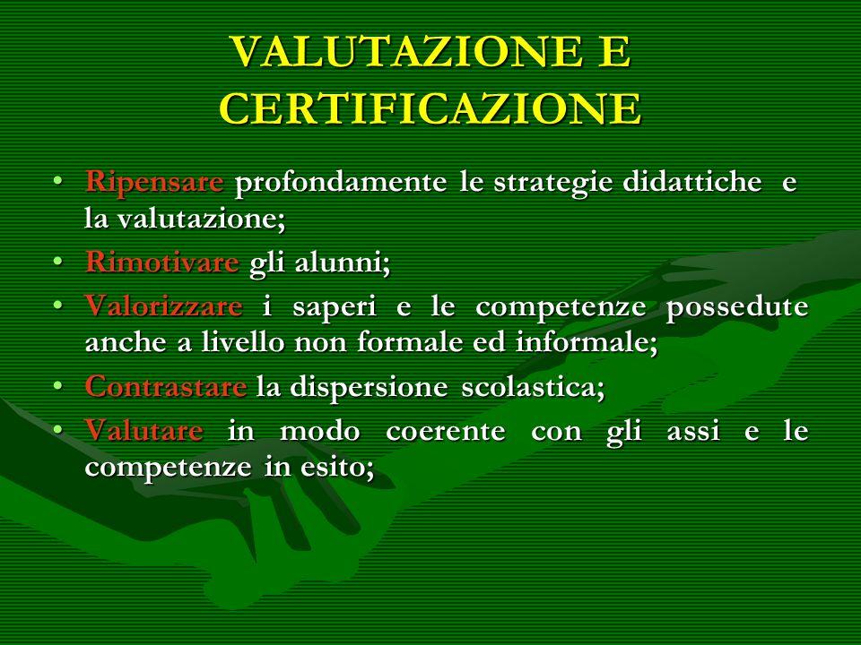 VALUTAZIONE E CERTIFICAZIONE Ripensare profondamente le strategie didattiche e la valutazione;Ripensare profondamente le strategie didattiche e la val