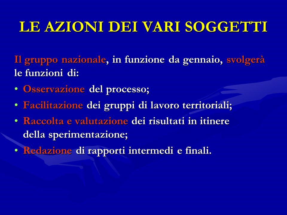 LE AZIONI DEI VARI SOGGETTI Il gruppo nazionale, in funzione da gennaio, svolgerà le funzioni di: Osservazione del processo;Osservazione del processo;