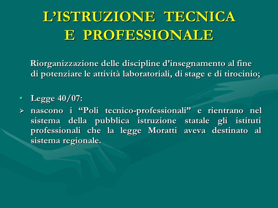 LISTRUZIONE TECNICA E PROFESSIONALE Riorganizzazione delle discipline dinsegnamento al fine di potenziare le attività laboratoriali, di stage e di tir