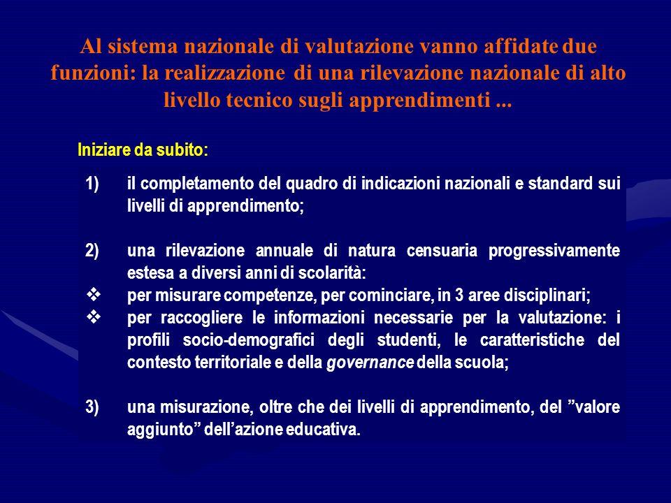 1)il completamento del quadro di indicazioni nazionali e standard sui livelli di apprendimento; 2)una rilevazione annuale di natura censuaria progress