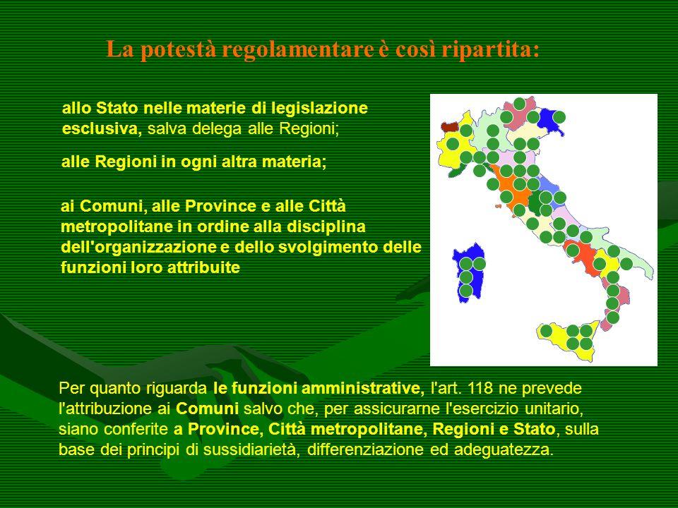 La potestà regolamentare è così ripartita: allo Stato nelle materie di legislazione esclusiva, salva delega alle Regioni; alle Regioni in ogni altra m