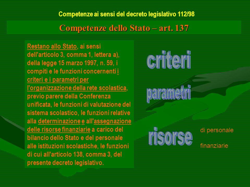 Competenze dello Stato – art. 137 Restano allo Stato, ai sensi dell'articolo 3, comma 1, lettera a), della legge 15 marzo 1997, n. 59, i compiti e le