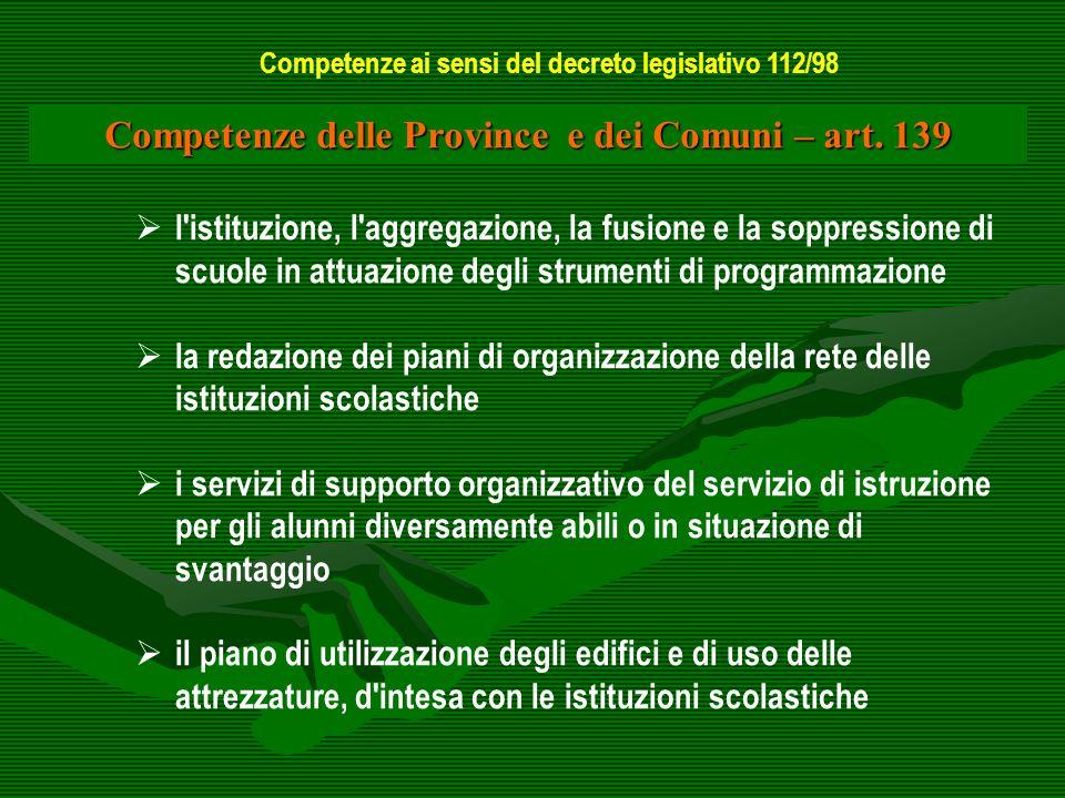 Competenze delle Province e dei Comuni – art. 139 l'istituzione, l'aggregazione, la fusione e la soppressione di scuole in attuazione degli strumenti