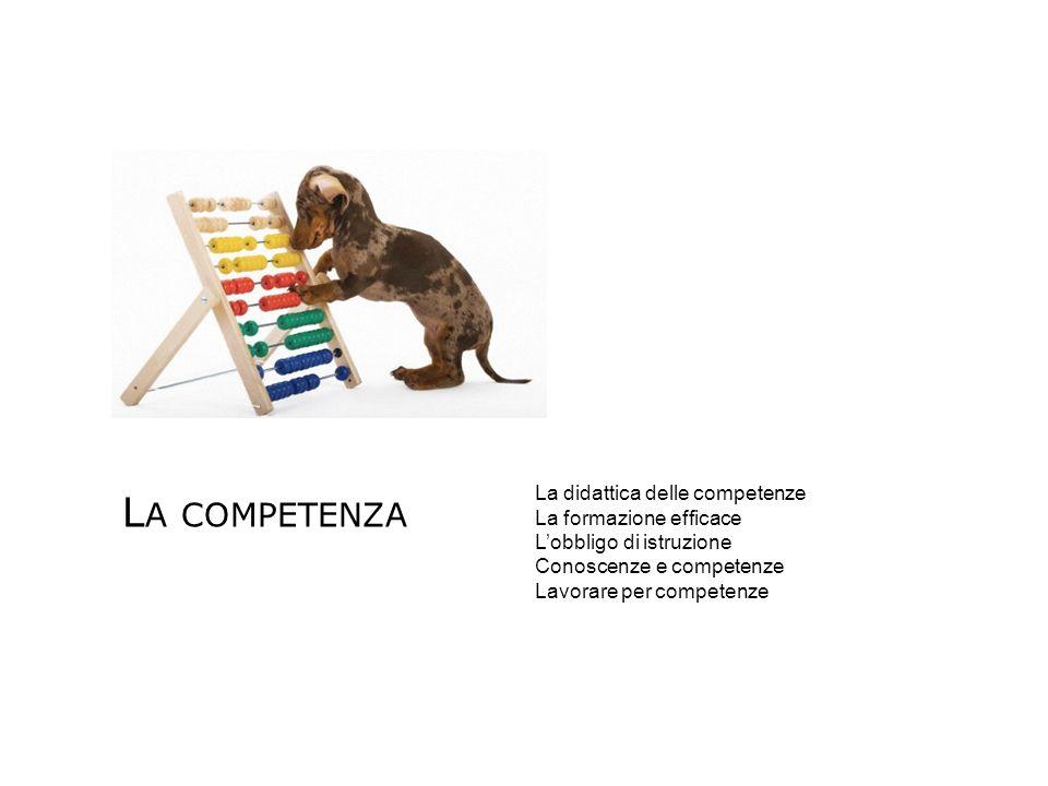 L A COMPETENZA La didattica delle competenze La formazione efficace Lobbligo di istruzione Conoscenze e competenze Lavorare per competenze