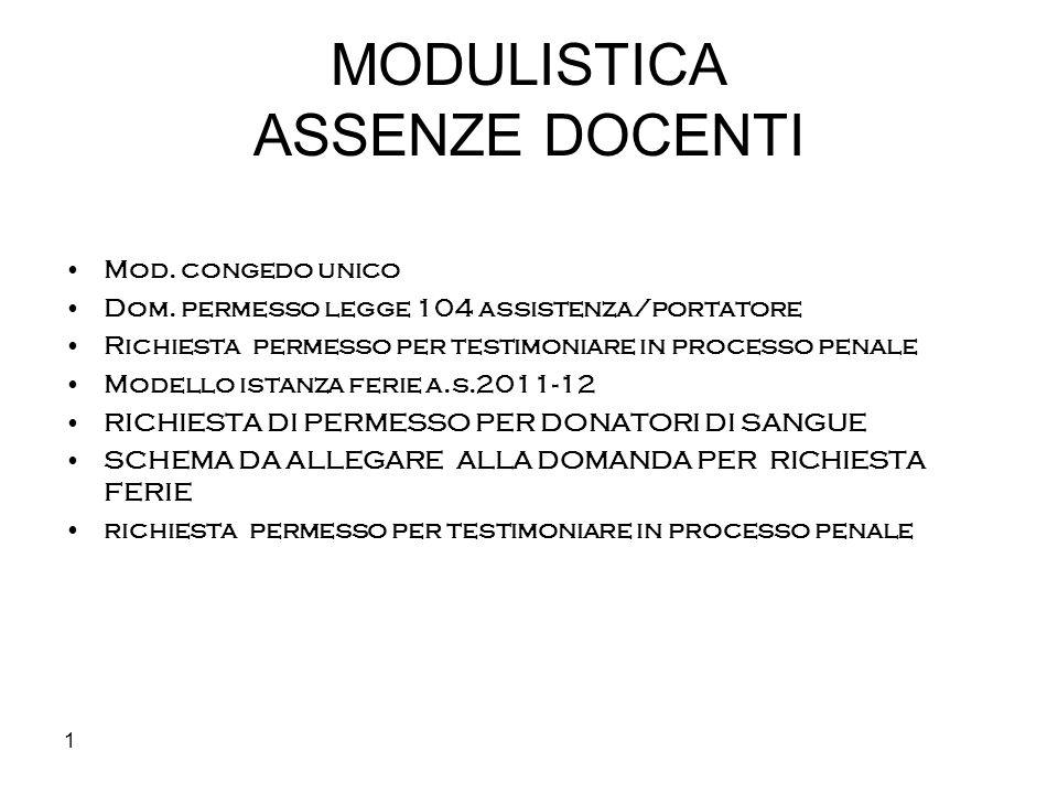 1 MODULISTICA ASSENZE DOCENTI Mod. congedo unico Dom. permesso legge 104 assistenza/portatore Richiesta permesso per testimoniare in processo penale M