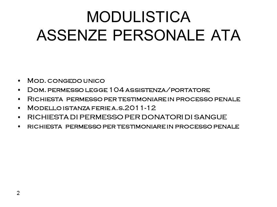 2 MODULISTICA ASSENZE PERSONALE ATA Mod. congedo unico Dom. permesso legge 104 assistenza/portatore Richiesta permesso per testimoniare in processo pe