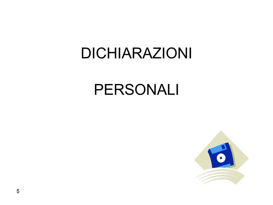 5 DICHIARAZIONI PERSONALI