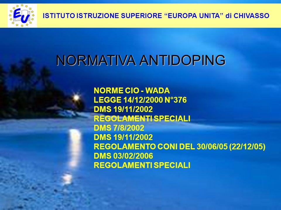 13 Per contrastare questo fenomeno occorre: Pevenirlo alla radice NORMATIVA ANTIDOPING NORME CIO - WADA LEGGE 14/12/2000 N°376 DMS 19/11/2002 REGOLAME
