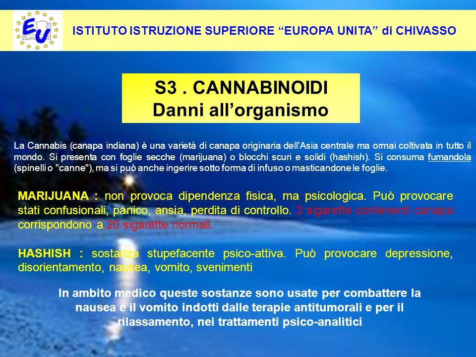 28 Per contrastare questo fenomeno occorre: Pevenirlo alla radice S3. CANNABINOIDI Danni allorganismo ISTITUTO ISTRUZIONE SUPERIORE EUROPA UNITA di CH