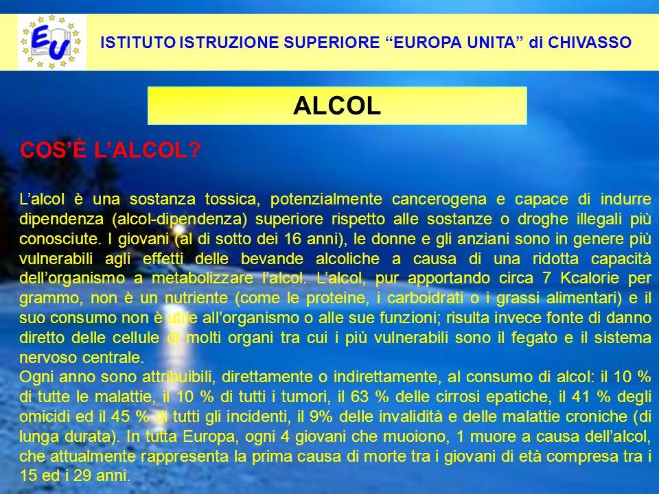 41 Per contrastare questo fenomeno occorre: Pevenirlo alla radice ALCOL ISTITUTO ISTRUZIONE SUPERIORE EUROPA UNITA di CHIVASSO COSÈ LALCOL? Lalcol è u