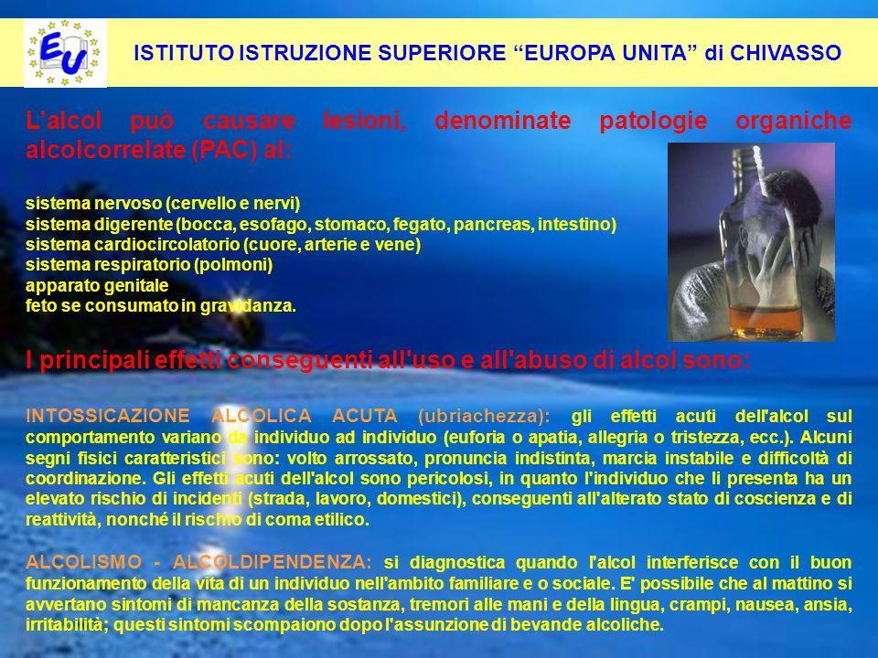 50 Per contrastare questo fenomeno occorre: Pevenirlo alla radice ISTITUTO ISTRUZIONE SUPERIORE EUROPA UNITA di CHIVASSO Lalcol può causare lesioni, d