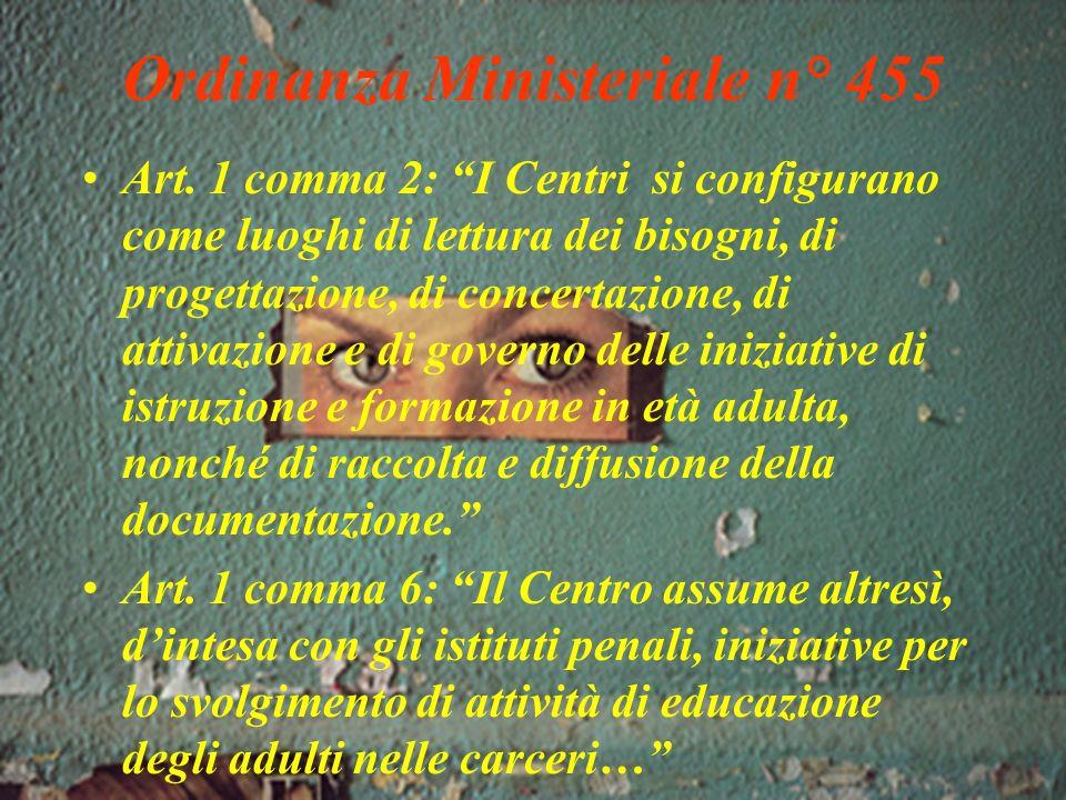 Listituzione dei C.T.P. con lO.M. n. 455/1997 LOrdinanza Ministeriale n.