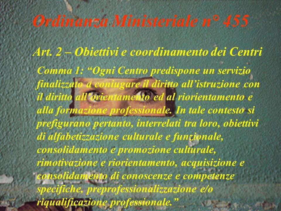 Ordinanza Ministeriale n° 455 Art.