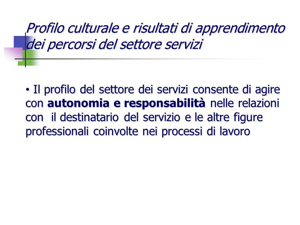 Profilo culturale e risultati di apprendimento dei percorsi del settore servizi Il profilo del settore dei servizi consente di agire con autonomia e r