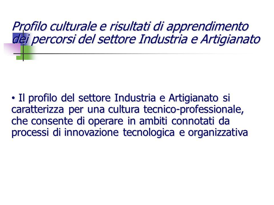 Profilo culturale e risultati di apprendimento dei percorsi del settore Industria e Artigianato Il profilo del settore Industria e Artigianato si cara
