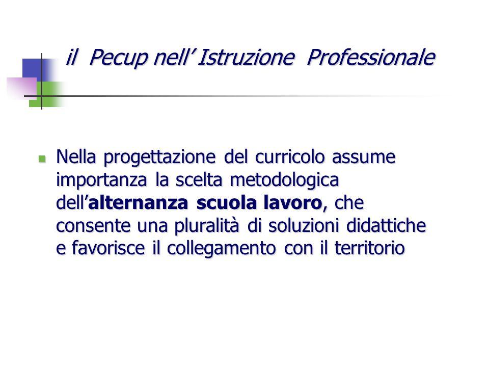 Nella progettazione del curricolo assume importanza la scelta metodologica dellalternanza scuola lavoro, che consente una pluralità di soluzioni didat