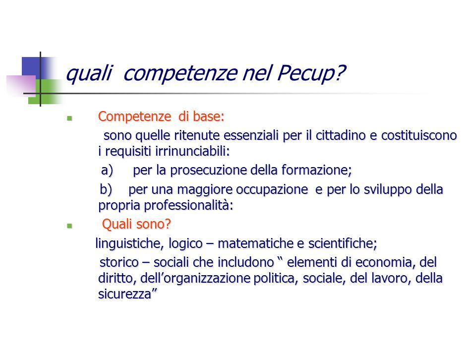 quali competenze nel Pecup? Competenze di base: Competenze di base: sono quelle ritenute essenziali per il cittadino e costituiscono i requisiti irrin