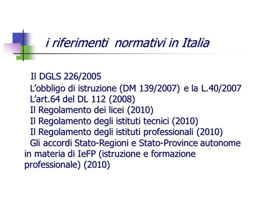 Il DGLS 226/2005 Il DGLS 226/2005 Lobbligo di istruzione (DM 139/2007) e la L.40/2007 Lobbligo di istruzione (DM 139/2007) e la L.40/2007 Lart.64 del