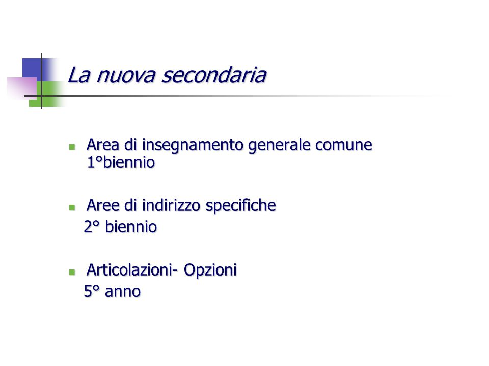 La nuova secondaria Area di insegnamento generale comune 1°biennio Area di insegnamento generale comune 1°biennio Aree di indirizzo specifiche Aree di