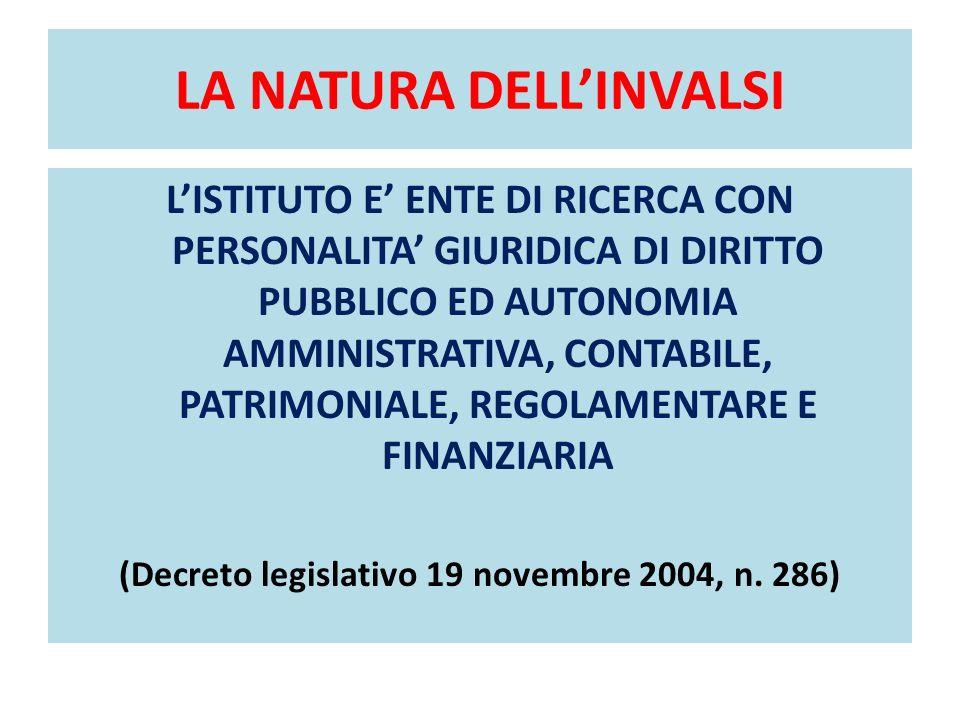 LA NATURA DELLINVALSI LISTITUTO E ENTE DI RICERCA CON PERSONALITA GIURIDICA DI DIRITTO PUBBLICO ED AUTONOMIA AMMINISTRATIVA, CONTABILE, PATRIMONIALE, REGOLAMENTARE E FINANZIARIA (Decreto legislativo 19 novembre 2004, n.