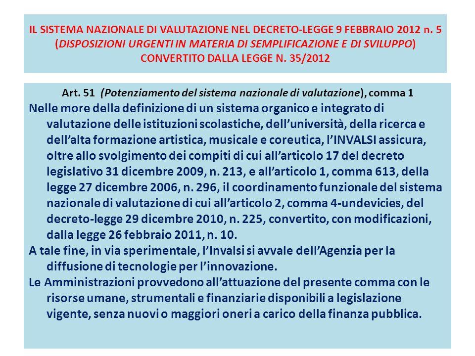 IL SISTEMA NAZIONALE DI VALUTAZIONE NEL DECRETO-LEGGE 9 FEBBRAIO 2012 n.