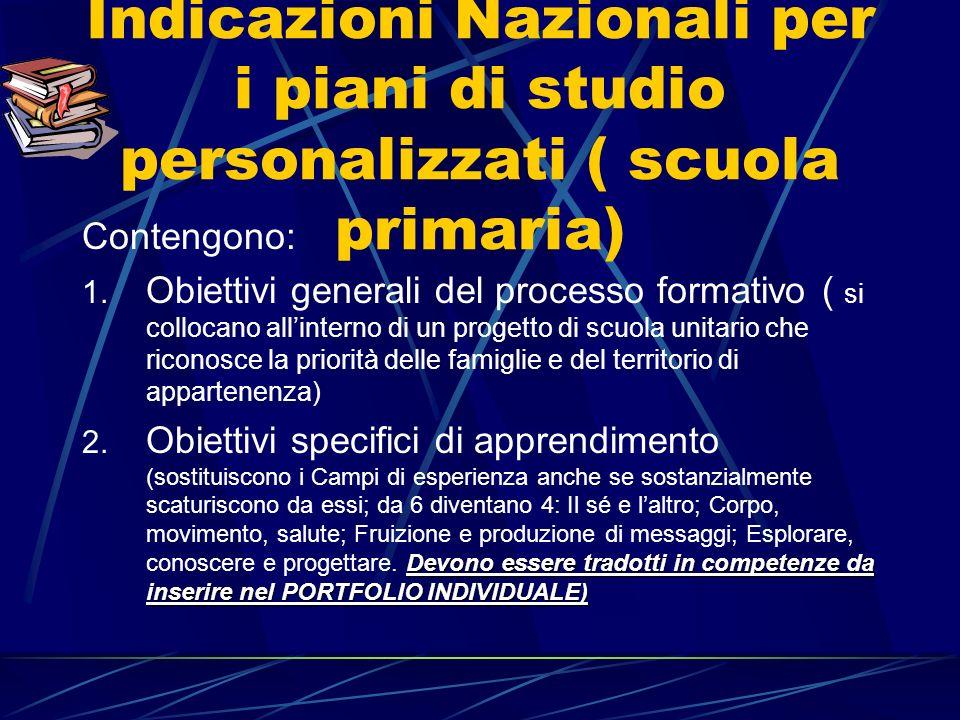 Indicazioni Nazionali per i piani di studio personalizzati ( scuola primaria) Contengono: 1.