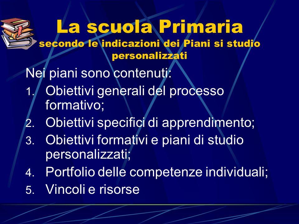 La scuola Primaria secondo le indicazioni dei Piani si studio personalizzati Nei piani sono contenuti: 1.