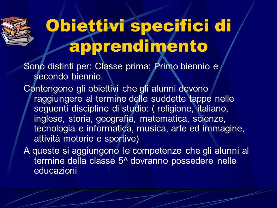 Obiettivi specifici di apprendimento Sono distinti per: Classe prima; Primo biennio e secondo biennio.