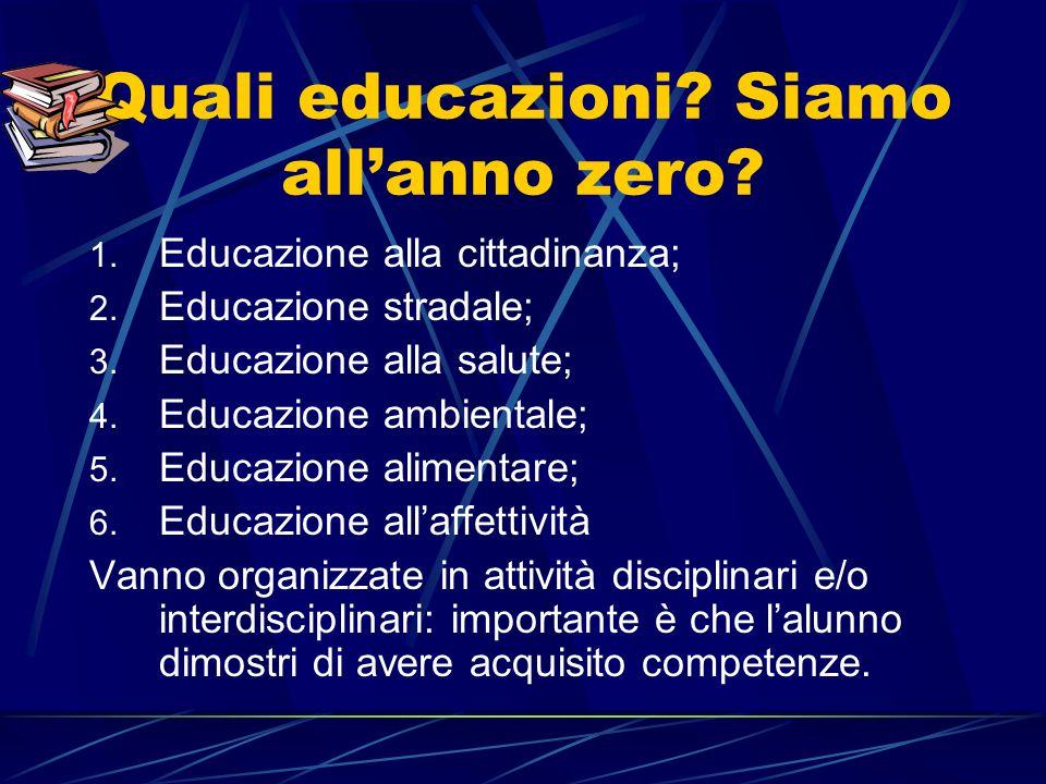 Quali educazioni. Siamo allanno zero. 1. Educazione alla cittadinanza; 2.