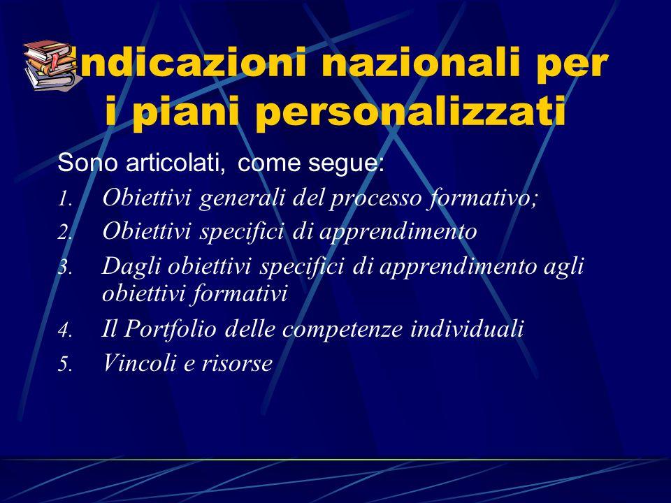 Indicazioni nazionali per i piani personalizzati Sono articolati, come segue: 1.