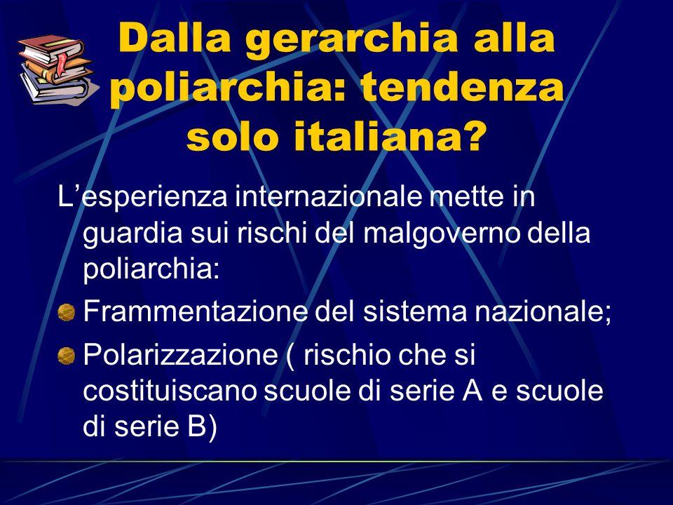 Dalla gerarchia alla poliarchia: tendenza solo italiana.