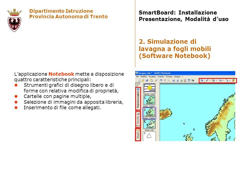 Dipartimento Istruzione Provincia Autonoma di Trento SmartBoard: Installazione Presentazione, Modalità duso Lapplicazione Notebook mette a disposizion