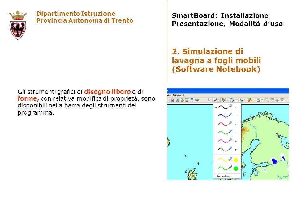 Dipartimento Istruzione Provincia Autonoma di Trento SmartBoard: Installazione Presentazione, Modalità duso Gli strumenti grafici di disegno libero e