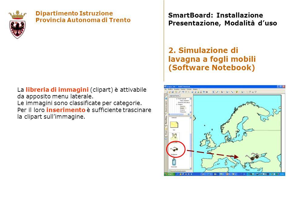 Dipartimento Istruzione Provincia Autonoma di Trento SmartBoard: Installazione Presentazione, Modalità duso La libreria di immagini (clipart) è attiva