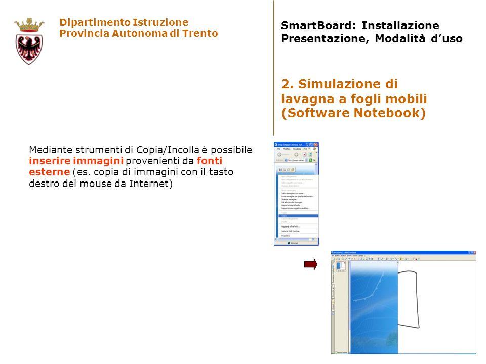 Dipartimento Istruzione Provincia Autonoma di Trento SmartBoard: Installazione Presentazione, Modalità duso Mediante strumenti di Copia/Incolla è poss