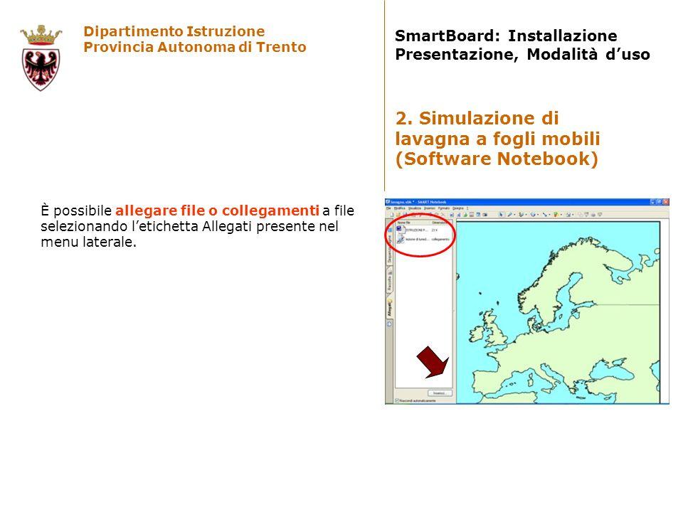 Dipartimento Istruzione Provincia Autonoma di Trento SmartBoard: Installazione Presentazione, Modalità duso È possibile allegare file o collegamenti a