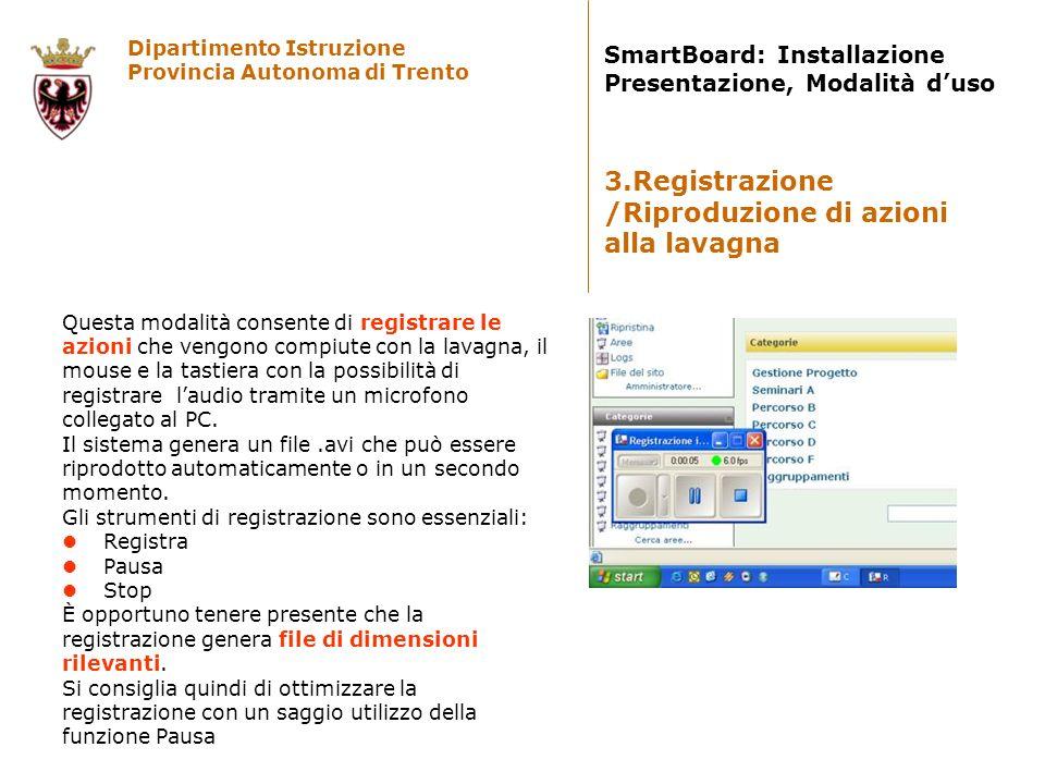 Dipartimento Istruzione Provincia Autonoma di Trento SmartBoard: Installazione Presentazione, Modalità duso Questa modalità consente di registrare le