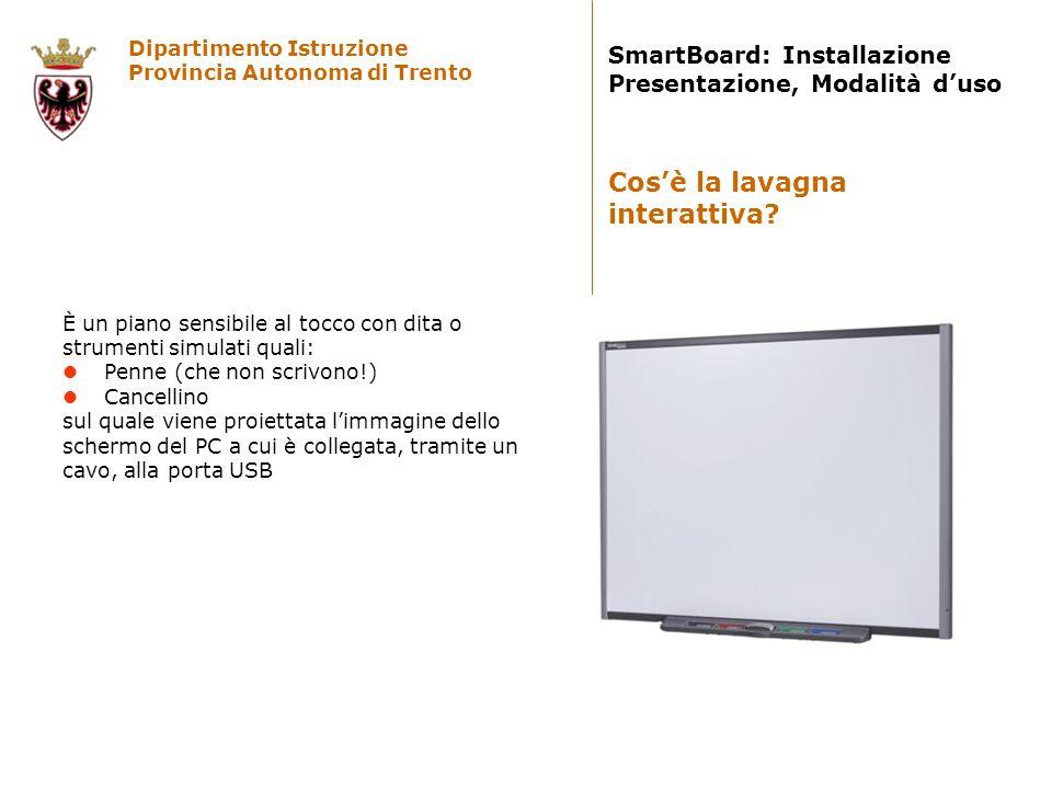 Dipartimento Istruzione Provincia Autonoma di Trento SmartBoard: Installazione Presentazione, Modalità duso Linstallazione, di norma effettuata da personale preparato, si effettua in 4 operazioni: 1.